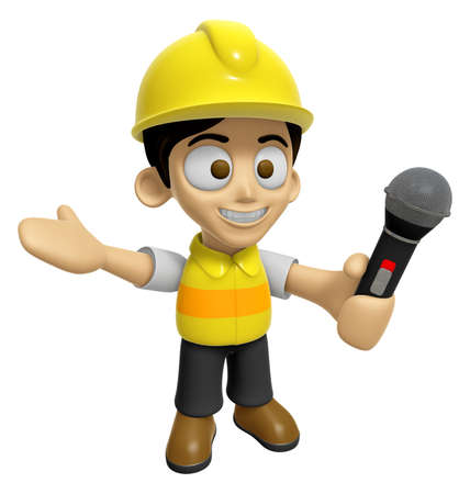 creation of sites: 3D Construction Worker Man Mascot the hand is holding a Mic. Work and Job Character Design Series 2.