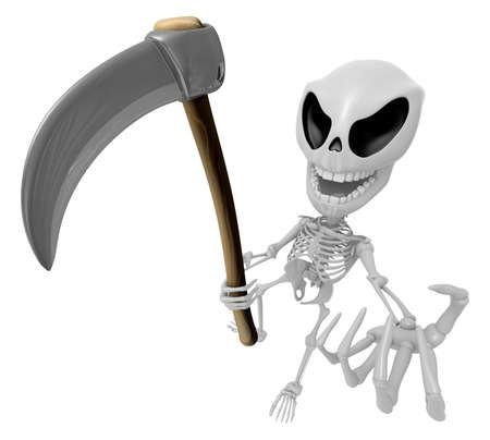 brandishing: 3D Reaper Skeleton Mascot a very sharp scythe brandishing. 3D Skull Character Design Series.