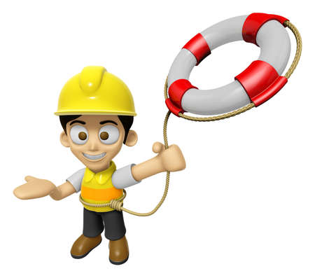 lifebelt: 3D Construction Worker Man Mascot is throwing a Lifebelt. Work and Job Character Design Series 2. Stock Photo