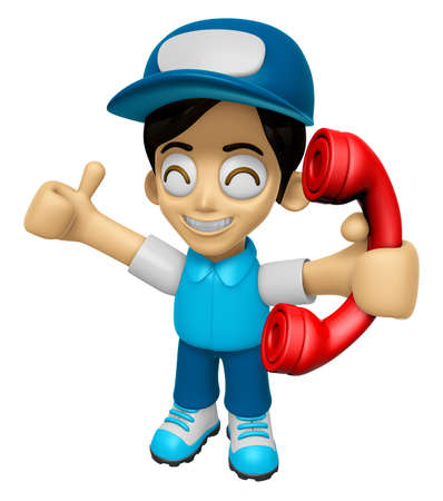 call me: 3D Delivery Service Man Mascot Please call me today. Work and Job Character Design Series 2. Stock Photo