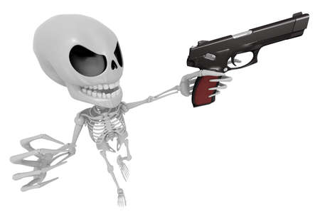 mortal: 3D Skeleton Mascot is cowboys taking to pose a gunfight. 3D Skull Character Design Series.