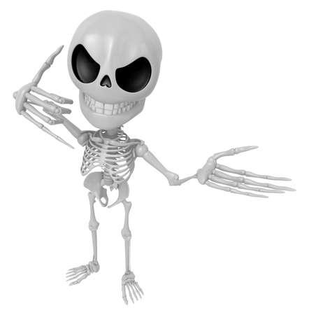 live feeling: 3D Skeleton Mascot is telephone hand gestures. 3D Skull Character Design Series. Stock Photo