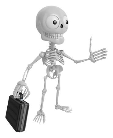 buck teeth: 3D Skeleton Mascot is gone to work and holding a briefcase. 3D Skull Character Design Series.