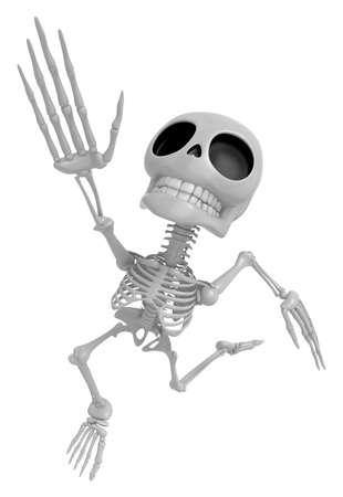 endeavor: 3D Skeleton Mascot Goes up like a cartoon hero. 3D Skull Character Design Series Stock Photo
