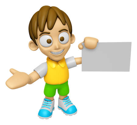 publicity: 3D Child Mascot is holding a business card. Work and Job Character Design Series 2.