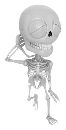 embarrassment: 3D Skeleton Mascot is just scratched his head from embarrassment awkwardness. 3D Skull Character Design Series.