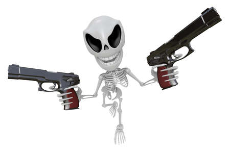 mortal: 3D Skeleton Mascot is cowboys holding an automatic pistol with both hands. 3D Skull Character Design Series. Stock Photo