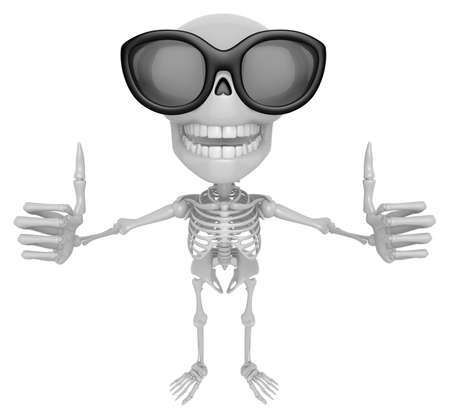 best hand: 3D Skeleton Mascot the best hand gesture. 3D Skull Character Design Series. Stock Photo