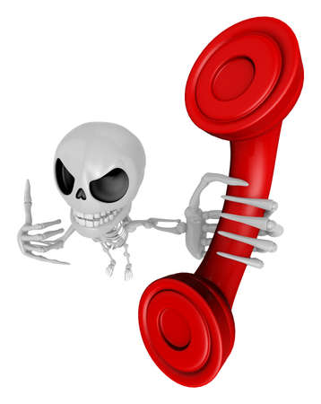 mortal: 3D Skeleton Mascot is telephone hand gestures. 3D Skull Character Design Series. Stock Photo