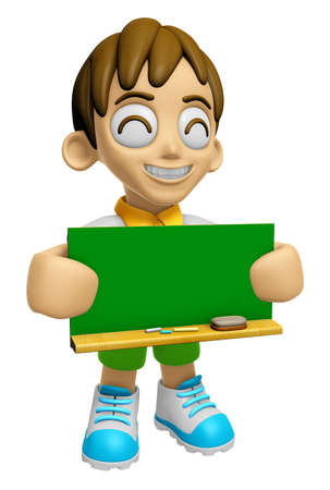 informing: 3D Child Mascot holding a big board with both Green chalkboard. Work and Job Character Design Series 2. Stock Photo