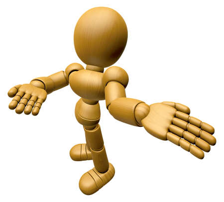 3d doll: 3D Wood Doll Mascot Suggests the direction with both hands. 3D Wooden Ball Jointed Doll Character Design Series.