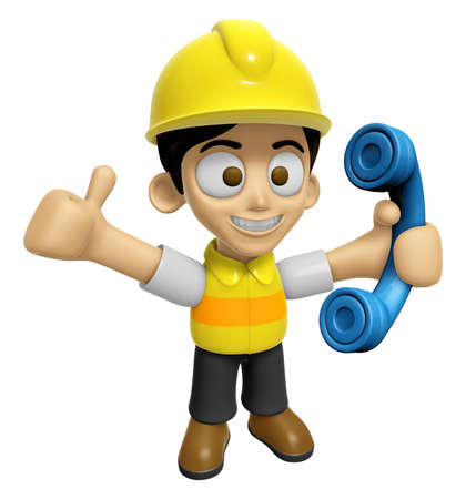 creation of sites: 3D Construction Worker Man Mascot just calls me back when you have more time. Work and Job Character Design Series 2.