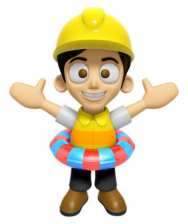caballa: 3D Construction Worker Man Mascot is played in the pool on a tube. Work and Job Character Design Series 2. Stock Photo
