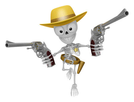 informal: 3D Skeleton Mascot is cowboys holding a revolver gun with both hands. 3D Skull Character Design Series.