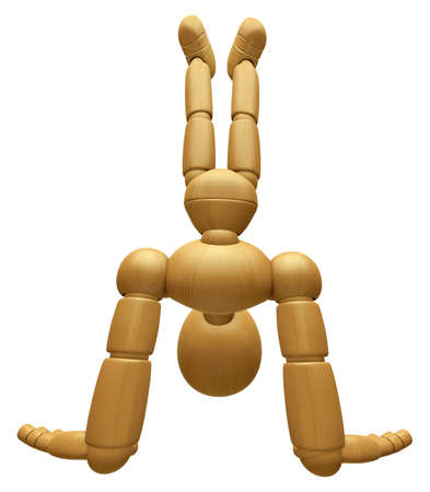 dynamic activity: 3D Wood Doll Mascot stand upside down, on a High Angle Shot. 3D Wooden Ball Jointed Doll Character Design Series.