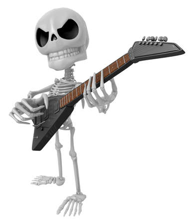 nimble: 3D Skeleton Mascot is played the guitar with nimble fingers. 3D Skull Character Design Series. Stock Photo