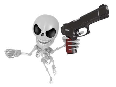 gunslinger: 3D Skeleton Mascot is the strike with ones fist. 3D Skull Character Design Series.