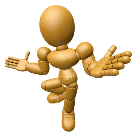 ignorance: 3D Wood Doll Mascot is doing not to understand gestures. 3D Wooden Ball Jointed Doll Character Design Series. Stock Photo