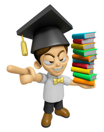 scholar: 3D Scholar Man Mascot is anger and holding a books. Work and Job Character Design Series 2.