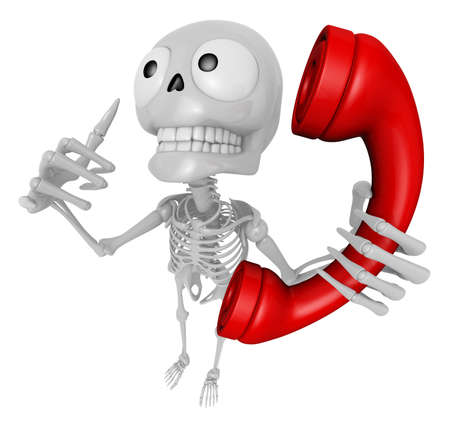 jawbone: 3D Skeleton Mascot is telephone hand gestures. 3D Skull Character Design Series. Stock Photo