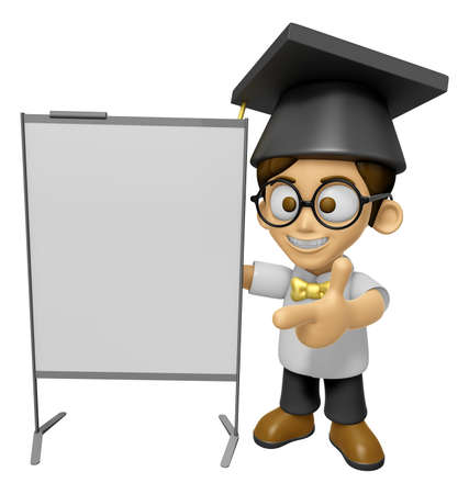 brainy: 3D Scholar Man Mascot is presentation in front of the a briefing chart. Work and Job Character Design Series 2. Stock Photo