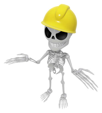 mortal: 3D Skeleton Mascot is doing not to know gestures. 3D Skull Character Design Series. Stock Photo
