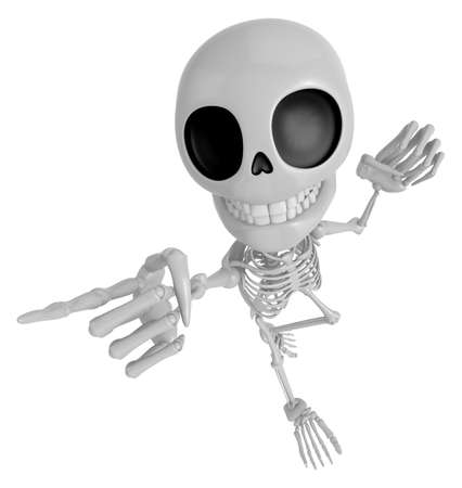 jawbone: 3D Skeleton Mascot is points a finger one direction. 3D Skull Character Design Series. Stock Photo