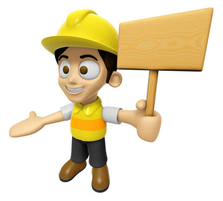 creation of sites: 3D Construction Worker Man Mascot the hand is holding a picket. Work and Job Character Design Series 2.