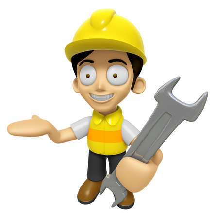 creation of sites: 3D Construction Worker Man Mascot the right hand guides and the left hand is holding a spanner. Work and Job Character Design Series 2.