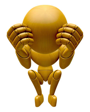 jointed: 3D Wood Doll Mascot is troubled by headaches. 3D Wooden Ball Jointed Doll Character Design Series.