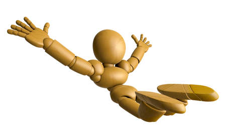 skydiving: 3D Wood Doll Mascot is to play skydiving, on a High Angle Shot. 3D Wooden Ball Jointed Doll Character Design Series.