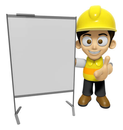 creation of sites: 3D Construction Worker Man Mascot is concise explanation of a whiteboard. Work and Job Character Design Series 2.