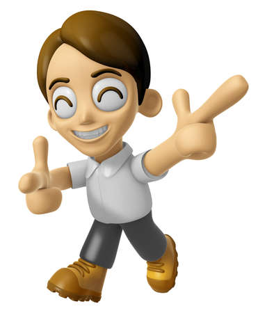 sentiment: 3D Man Mascot is taking gestures of Double pistols. Work and Job Character Design Series 2. Stock Photo