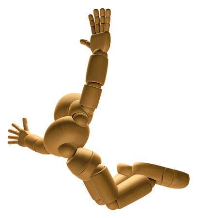 skydiving: 3D Wood Doll Mascot is to play skydiving, on a Low Angle Shot. 3D Wooden Ball Jointed Doll Character Design Series.