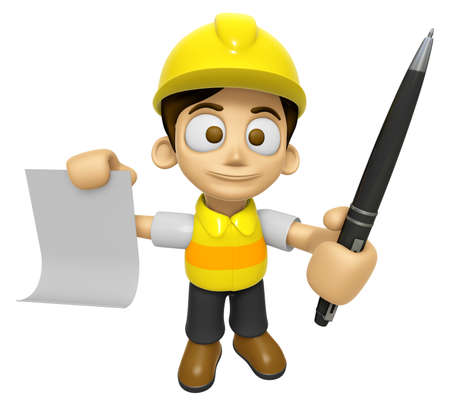 ballpoint: 3D Construction Worker Man Mascot hand is holding a Document and ballpoint pen. Work and Job Character Design Series 2.
