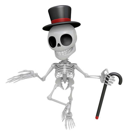 dignity: 3D Gentleman Skeleton Mascot is a stick dance Brandishing. 3D Skull Character Design Series.