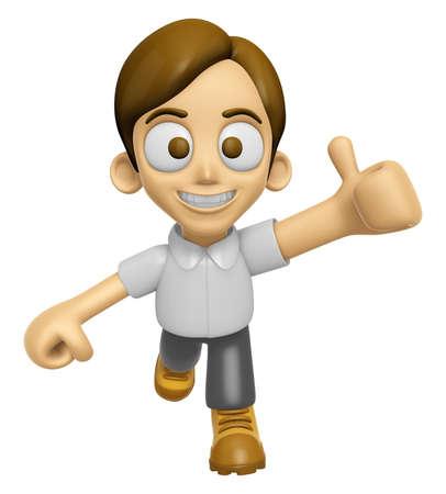best hand: 3D Man Mascot the best hand gesture. Work and Job Character Design Series 2. Stock Photo