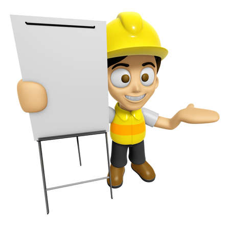 briefing: 3D Construction Worker Man Mascot is presentation in front of the a briefing chart. Work and Job Character Design Series 2.