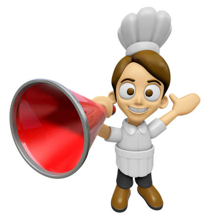 publicity: 3D Chef Man Mascot is speakn over a loudspeaker. Work and Job Character Design Series 2. Stock Photo