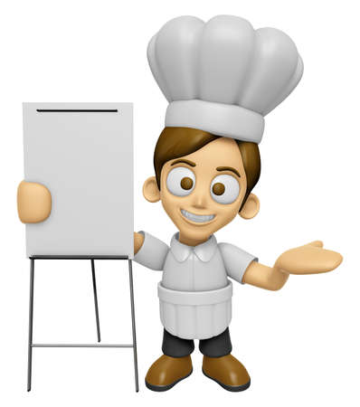 briefing: 3D Chef Man Mascot is presentation in front of the a briefing chart. Work and Job Character Design Series 2. Stock Photo