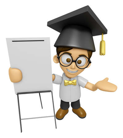 scholar: 3D Scholar Man Mascot is concise explanation of a whiteboard. Work and Job Character Design Series 2.