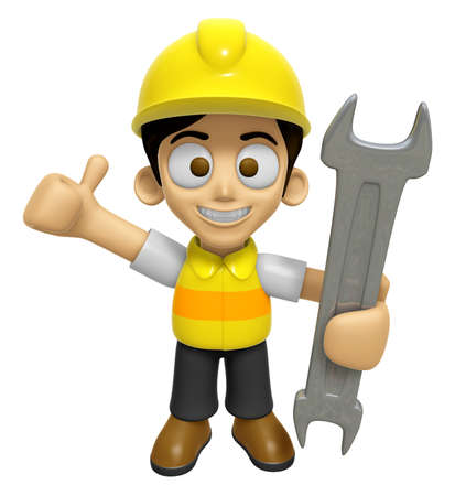 creation of sites: 3D Construction Worker Man Mascot the Right hand best gesture and Left hand is holding a wrench. Work and Job Character Design Series 2.
