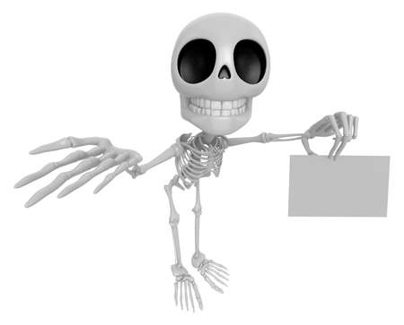 mortal: 3D Skeleton Mascot the left hand guides and the right hand is holding a business cards. 3D Skull Character Design Series.