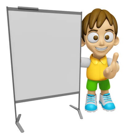 concise: 3D Child Mascot is concise explanation of a whiteboard. Work and Job Character Design Series 2.