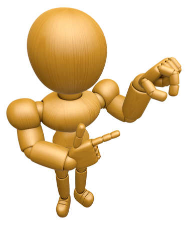 to seize: 3D Wood Doll Mascot the pick up a gesture. 3D Wooden Ball Jointed Doll Character Design Series. Stock Photo