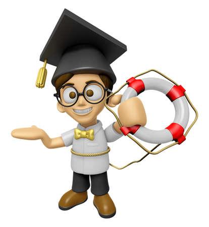lifebelt: 3D Scholar Man Mascot the hand is holding a Lifebelt. Work and Job Character Design Series 2.