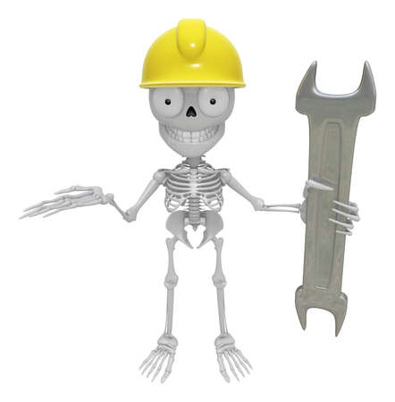 creation of sites: 3D Skeleton Mascot is holding electric wrench. 3D Skull Character Design Series.