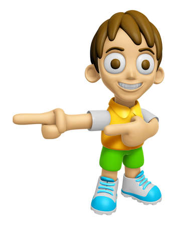 sentiment: 3D Child Mascot is points a finger one direction. Work and Job Character Design Series 2.
