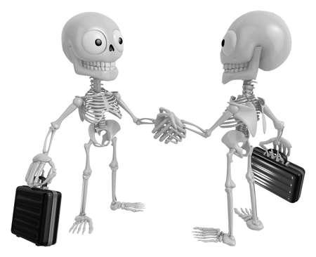 live feeling: 3D Skeleton Mascot shake hands with each other. 3D Skull Character Design Series.