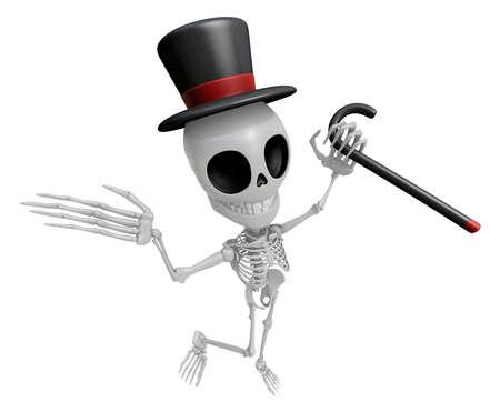 gent: 3D Gentleman Skeleton Mascot is a stick dance Brandishing. 3D Skull Character Design Series.